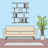Błękitnego tematu prosty minimalistyczny żywy pokój ustawia szablon royalty ilustracja