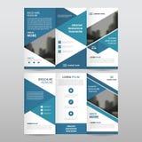 Błękitnego trójbok ulotki broszurki ulotki raportu biznesowego trifold szablonu projekta wektorowy minimalny płaski set, abstrakt ilustracji
