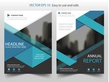 Błękitnego trójboka broszurki sprawozdania rocznego ulotki ulotki szablonu Wektorowy projekt, książkowej pokrywy układu projekt,  ilustracja wektor