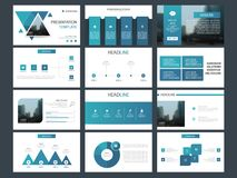 Błękitnego trójboka plika elementów prezentaci infographic szablon biznesowy sprawozdanie roczne, broszurka, ulotka, reklamowa ul ilustracja wektor
