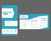 Błękitnego wielocelowego broszurki ulotki ulotki szablonu płaski projekt Zdjęcia Royalty Free