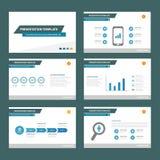Błękitnego wielocelowego infographic elementu płaski projekt ustawia dla prezentaci Obrazy Stock