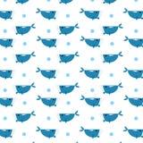 Błękitnego wieloryba wzór rozpraszający z okrąg wody bąbla abstraktem ilustracja wektor