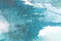Błękitnej abstrakcjonistycznej akwareli tekstury makro- tło Ręka malujący akwareli tło Zdjęcia Stock