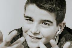 błękitnej chłopiec kamery przyrządu skutka form upału cyfrowego wizerunku modela fotografii portreta infrared robi nie napromieni Zdjęcia Royalty Free