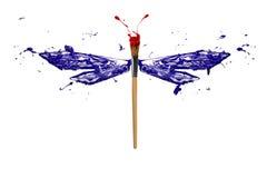 Błękitnej czerwieni biała farba zrobił dragonfly Obraz Royalty Free