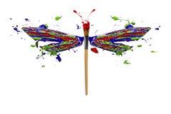 Błękitnej czerwieni zieleni biała farba zrobił dragonfly ilustracji