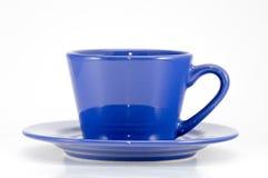 Błękitnej filiżanki kawy frontowy widok Obrazy Stock