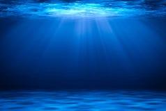 Błękitnej głębokiej wody horyzontalny abstrakcjonistyczny naturalny tło royalty ilustracja