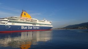 Błękitnej gwiazdy statek Patmos Fotografia Stock