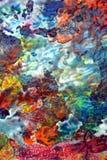 Błękitnej koloru żółtego r zieleni pomarańczowa ciemna biała purpurowa jaskrawa mieszanka barwi, malujący punktu tło, akwareli ko Obrazy Stock