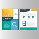 Błękitnej pomarańcze zieleni sprawozdania rocznego prezentaci szablonu elementów ikony płaski projekt ustawia dla reklamowej mark Zdjęcie Royalty Free