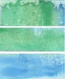 Błękitnej zieleni malujący wektorowi sztandary Fotografia Royalty Free