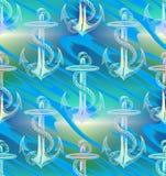 Błękitnej zieleni pastelu kotwicy Falowego wzoru tło Obraz Royalty Free