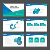 Błękitnej zieleni prezentaci szablonu Infographic elementów płaski projekt ustawia dla broszurki ulotki ulotki marketingu Obrazy Royalty Free