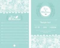 Błękitni Ślubni zaproszenia Zdjęcie Stock