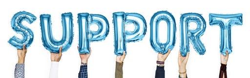 Błękitni abecadło balony tworzy słowa poparcie zdjęcia royalty free