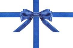 Błękitni atłas faborki i łęki odizolowywali - set 1 Zdjęcia Stock