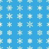 Błękitni bezszwowi 30 płatka śniegu wzoru różnorodni typ ornamenty Fotografia Royalty Free