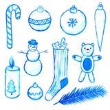 Błękitni Bożenarodzeniowi elementy ilustracji