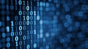 Błękitni cyfrowi binarni dane na ekranie komputerowym