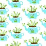 Błękitni czajniki z rośliny bezszwowym tłem zdjęcie stock