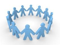 Błękitni 3d ludzie stoi w okręgu Zdjęcia Royalty Free