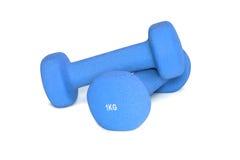 Błękitni dumbbells odizolowywający na białym tle barwnik urządzeń sportowych na ilustracyjna wody Obraz Stock