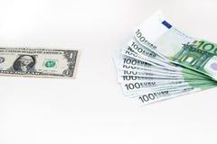 Błękitni euro dolarowi pieniędzy banknoty butelki poj?cia dolarowi pieni?dze oszcz?dzania Euro got?wka na bia?ym tle obraz stock