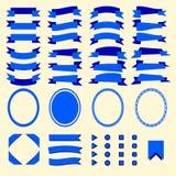 Błękitni faborki i sieć elementy ustawiający Zdjęcia Royalty Free