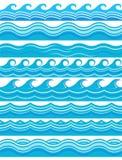 Błękitni falowi wzory na białym tle ilustracja wektor