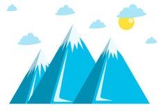 Błękitni góry, śnieg, chmury i słońce, ilustracji