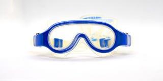 Błękitni gumowi przyrodni plastikowi tranparent gogle dla dzieciaka dalej fotografia royalty free