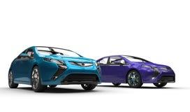 Błękitni i Purpurowi Elektryczni samochody fotografia royalty free