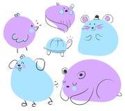 Błękitni i Purpurowi Zwierzęcy Doodles Obrazy Stock