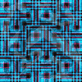 Błękitni i różowi psychodeliczni wieloboki i linie na czarnym tle Grunge skutek Zdjęcia Stock