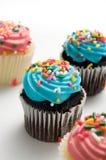 Błękitni i Różowi Wielkanocni Muffins z Kropią Zdjęcie Stock