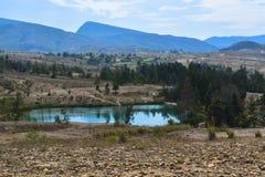 Błękitni jeziora Pustynna Willa De Leyva Boyaca Zdjęcia Royalty Free