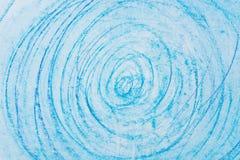 Błękitni kredka okręgi na papierowej rysunkowej bacground teksturze Fotografia Royalty Free