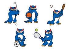 Błękitni kreskówki sowy gracza charaktery Obrazy Royalty Free
