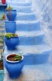 Błękitni kwiatów garnki w Chefchaouen i schodki Obrazy Royalty Free