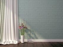 Błękitni kwiaty i cegła Zdjęcia Royalty Free