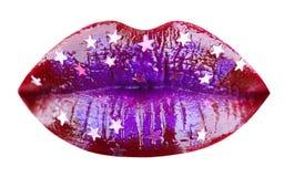 Błękitni lipgloss lub, piękna warga, jaskrawa pomadka Glansowane wargi, piękny makeup, zmysłowy usta, seksowna warga zakończenie zdjęcie stock