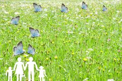 Błękitni motyle lata na rodzinie z zielonym łąkowym tło opieki społecznej pojęciem Obraz Stock