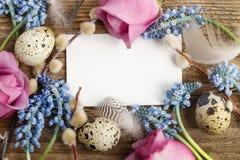 Błękitni muscari kwiaty i przepiórek jajka na drewnie (Gronowy hiacynt) zdjęcie stock