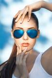 Błękitni okulary przeciwsłoneczni Fotografia Stock