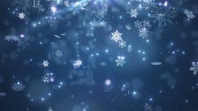 Błękitni piękni spada płatki śniegu royalty ilustracja