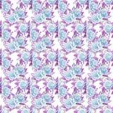 Błękitni róża bukiety beak dekoracyjnego latającego ilustracyjnego wizerunek swój papierowa kawałka dymówki akwarela Bezszwowy de Zdjęcie Royalty Free