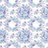 Błękitni róża bukiety beak dekoracyjnego latającego ilustracyjnego wizerunek swój papierowa kawałka dymówki akwarela Bezszwowy de Obraz Stock