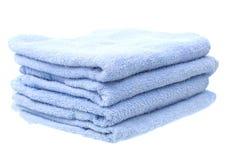 Błękitni ręczniki Odizolowywający na Białym tle Fotografia Royalty Free